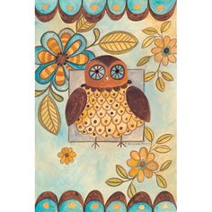 Funky owl in blues and browns
