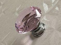 Pink Knob Knobs Glass Knobs Crystal Knob Dresser by LynnsHardware