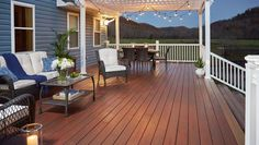 Need inspiration for your decking project? Visit the Fiberon Decking Photo Gallery for beautiful decking ideas and creations. Outdoor Living, Outdoor Decor, Outdoor Decking, Decking Ideas, Patio Ideas, Beach House Lighting, Balcony Flooring, European House Plans, House Deck