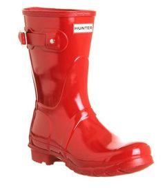 Hunter - Women's Original Short Gloss Rain Boots - Military Red