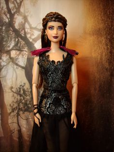 """Katniss Everdeen in Capitol Party/Ball Dress Repainted/Hair Restyled Barbie Doll and Costume from """"The Hunger Games: Catching Fire"""" - by Morgan May @ Stardust Dolls - http://www.stardustdolls.com"""