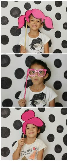 Make a Punky Pink Family Photobooth. Use duct tape and cereal box cardboard to make props (pink hair, pink glasses) and color polka dots with a marker on white paper for a backdrop! Dslr Photography Tips, Photography Backdrops, Diy Photo Booth, Picture Booth, Photobooth Props Printable, Kids Party Themes, Party Ideas, Diy Backdrop, Special Kids