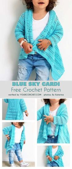 Baby Knitting Pattern Blue Sky Cardi For Girls Baby Girl Free Crochet Pattern to 10 Years Pull Crochet, Baby Girl Crochet, Crochet Baby Clothes, Baby Blanket Crochet, Crochet For Kids, Knit Crochet, Crochet Toddler Sweater, Ravelry Crochet, Crochet Ideas