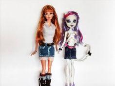 como fazer roupa de boneca #3: saia jeans para Barbie, Monster High e Ev...