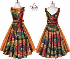 e9d0e754661 Fashion Women Dress Plus Size 6xl Vestidos Bazin Riche African Print Dress  Dashiki Sweet Bowknot Sashes