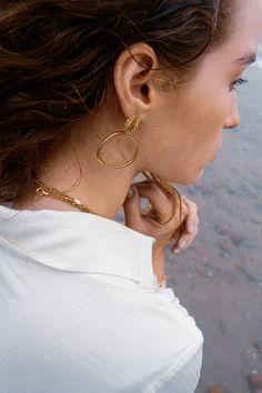 £69 Contemporary Jewellery, Modern Jewelry, Branding Design, Fashion Accessories, Hoop Earrings, Elegant, Bracelets, Creative, Gold