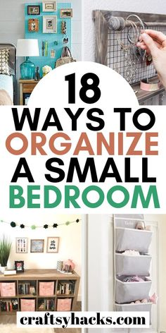 Organize small bedroom with these home organization hacks. These simple organizing tips will make it easy to keep your small bedroom in shape. hacks 18 Ways to Organize a Small Bedroom Small Bedroom Organization, Home Organization Hacks, Storage Hacks, Organizing Your Home, Organizing Tips, Cleaning Hacks, Clothing Organization, Organising, Clean Bedroom