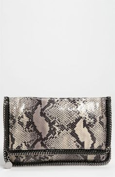 Stella McCartney 'Falabella' Faux Python Clutch available at #Nordstrom