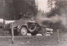 Sd.Kfz. 222 (2 cm) Leichte Panzerspähwagen firing on an enemy position