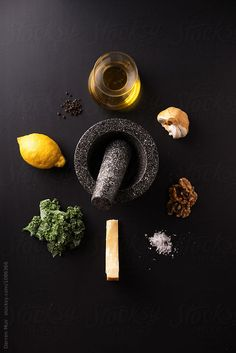 Ingredients for kale pesto on a dark background. Ingredients for kale pesto on a dark background. Food Poster Design, Food Design, Dark Food Photography, Kale Pesto, How To Make Sandwich, Food Backgrounds, Fun Cooking, Food Styling, Food Art