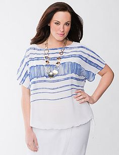 The fashionably boxy fit and artistic stripes put our Lane Collection chiffon top in the spotlight. Sheer for trendy layering, this lightweight top features a flattering boat neck, short sleeves and a tied bubble hem. A breezy style essential for the season! lanebryant.com
