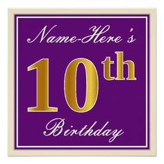 Elegant Purple Faux Gold 10th Birthday  Name Card - birthday cards invitations party diy personalize customize celebration