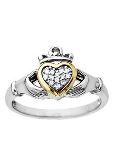 Diamond Accented Claddagh Ring in Sterling Silver with 14 Kt. Yellow Gold | Lord and Taylor