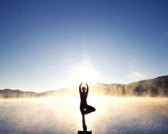 Tree Pose 'Vrksasana' on Foggy Mountain Lake at Sunrise by Stephanie McDowell