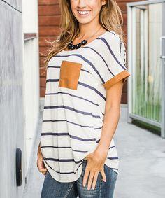 Look at this #zulilyfind! Navy & Beige Stripe Pocket Top by Pinkblush #zulilyfinds