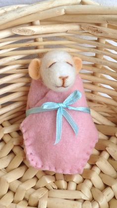 """""""Penny"""" Baby Bundle mouse / Mousling Needle felted art doll one of a kind / OOAK She is 3 inches long made from Marino and core wool fibres her bundle is made of a wool blend felt fabric """"Penny"""" can be found on eBay for sale under seller name apriloriginals  """"Penny loves to sleep all day and only wakes to feed and play""""  :) www.facebook.com/pages/April-Lily-handmade eBay user name : apriloriginals"""