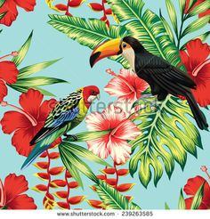 Tropic bird toucan and multicolor parrot on the background exotic flower hibiscus and palm leaf. Print summer floral plant. Nature animals wallpaper. Seamless vector pattern