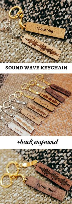Sound Wave Keychain, Keychain Personalized, Personalized Keychain, Couples Gift, Key Chains For Women, Customized Keychain, Key Ring, Keyfob, Gifts for Him, Valentine's Day Gift #ad