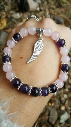 Check out this item in my Etsy shop https://www.etsy.com/uk/listing/466526598/rose-quartz-amethyst-gemstone-bracelet