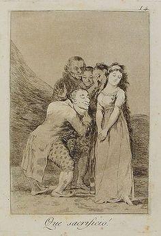 Qué sacrificio.Grabado de Goya sobre la temática propuesta.