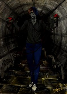 Eyeless Jack hummed to himself happily as he walked through the underground… Scary Creepypasta, Creepypasta Proxy, Creepypasta Characters, Dont Hug Me, Creeped Out, Eyeless Jack, Dhmis, Ben Drowned, Laughing Jack