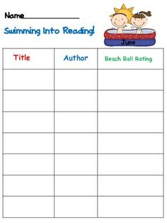 Dive into A Good Book- Summer Reading Logs
