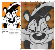 Pepé Le Pew Looney Tunes in a colored orange tile free cross stitch pattern