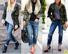 cbb54b1aeebca Look do Dia   Parka Camuflada + Calça Jeans com a Barra Dobrada + Blusa  Preta ou Cinza