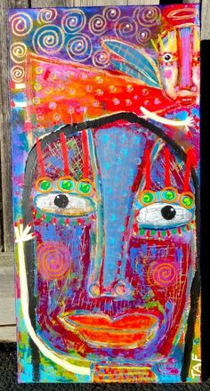 Tracey Ann Finley Original Outsider Raw Folk Painting Canvas Waved To ANGEL  #OutsiderArt