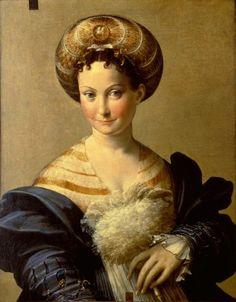 ▴ Artistic Accessories ▴ clothes, jewelry, hats in art - La Schiava Turca Parmigianino, 1532   Galleria Nazionale