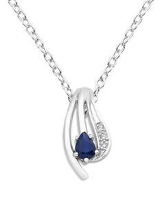 Halskette aus 375 Weißgold mit Diamanten & Saphir VALERIA 5420053358876