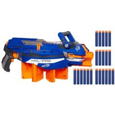 Nerf N-Strike Elite Hail-Fire Blaster by Nerf. $26.98. Use the Acceleration Trigger for semi-auto blasting. Unique rotating ammo rack gives the Hail-Fire blaster the highest capacity Nerf blaster ever. Elite Darts work with all N-Strike Elite blasters and most original N-Strike blasters. Blaster can hold up to 8 Quick Reload clips. Hail-Fire blaster holds up to 144 Elite Darts. Amazon.com It's the highest capacity NERF blaster ever. The N-STRIKE ELITE ...