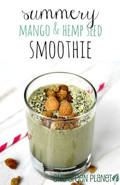 Summery Mango and Hemp Seed Smoothie onegr.pl/1qJ6LVR #summer #vegan #recipe #eatclean
