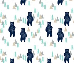 forest bear // navy mint grey kids room boys decor by andrea_lauren, click to purchase fabric