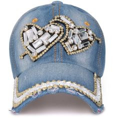 ililily Vintage Denim Cupid Heart Shaped Rhinestone Embellished Hat... ($17) ❤ liked on Polyvore featuring accessories, hats, denim hat, baseball cap, heart hat, ball cap hats and baseball caps hats