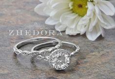 2.20 CT ronda anillo de compromiso corte plata por ZhedoraArgento