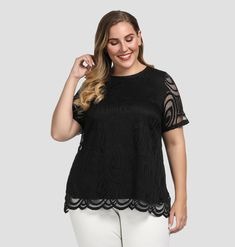 27f0b406646da Chicwe Women s Plus Size Scalloped Lace Solid Top - Casual and Work Blouse