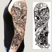Find great deals for Full Arm Flower Rose Clocks Tribal Tattoo Temporary Sticker Tattoo Uk, Type Tattoo, Tattoo Kits, Arm Tattoo, Tattoo Shop, Tattoos For Kids, Fake Tattoos, Body Art Tattoos, Tree Sleeve Tattoo