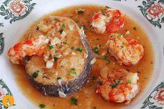 Merluza en salsa con gambas Fish Recipes, Seafood Recipes, Mexican Food Recipes, Vegetarian Recipes, Cooking Recipes, Healthy Recipes, Deli Food, Spanish Dishes, Good Food