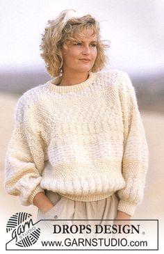 DROPS flermønstret genser i Kid-Mohair og Karisma. Gratis oppskrifter fra DROPS Design.