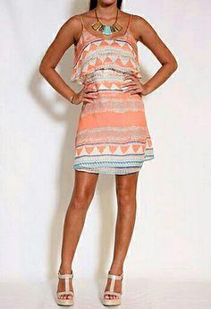 Mønstrete silke kjole
