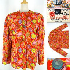 Vtg 80s Gene Ewing BIS Jacket M Orange Multicolor Candy Print Cotton Quilted #GENEEWINGBIS #Versatile