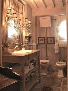 ♥♥ the large stone tile floor ..who say's you can't put large tile in a small room..love it !