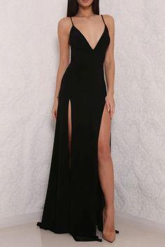 Sexy High Slit Black Open Back Prom Dresses, Long Black Evening Gown – Okdresses