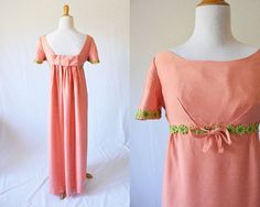 Vintage 1960's Peach and Green Daisy Dress  The by GracedVestige
