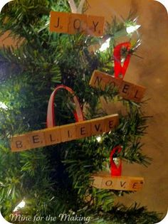 scrabble ornaments- Definitely going to find an old Scrabble game at a thrift store and make these for my Christmas Tree!