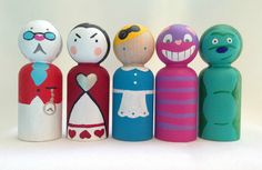Alice in Wonderland Peg Doll Set by PeggedByGrace on Etsy, $35.00