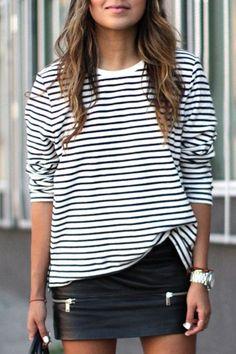 White Striped Long Sleeve Fashion T-Shirt