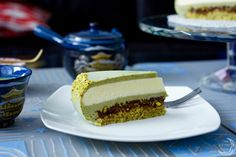 Japanese flavours inspired entremet cake: Matcha mousse, Japanese lemon infused white chococlate mousse, pistachio croquant and pistachio dacquoise