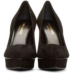 Saint Laurent Black Suede Janis Platform Pumps ($655) ❤ liked on Polyvore featuring shoes, pumps, heels, suede shoes, black suede pumps, pointy-toe pumps, suede pointed toe pumps and black pointy-toe pumps
